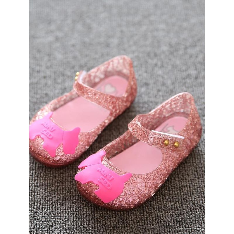 Kiskissing Cute pink Animal Pattern Pierced Breathable Velcro Jelly Shoes for Kids wholesale childrens shoes