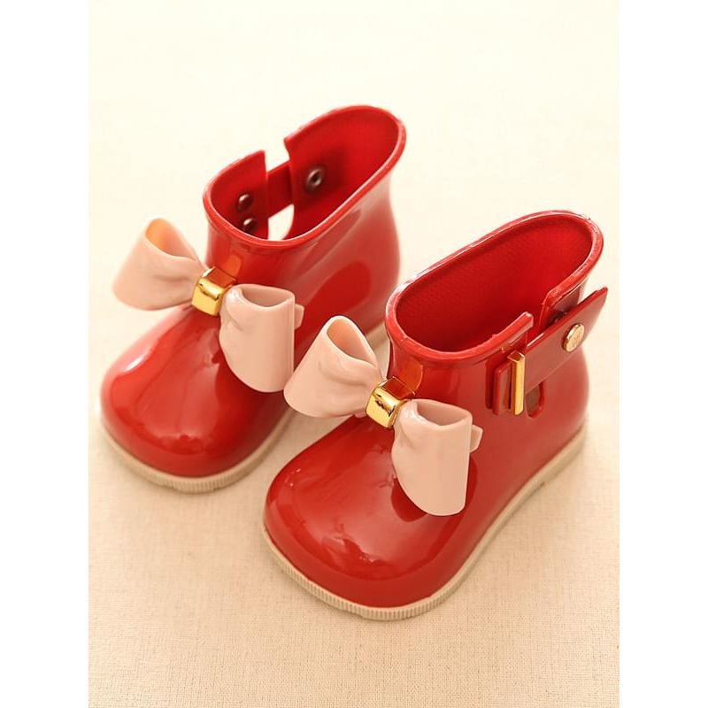 Kiskissing Cute Solid Color red Bow-knot Waterproof Anti-skid Rain-shoes Galoshes  for Kids wholesale children's accessories