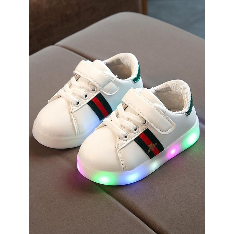 Kiskissing green Bee Stripes Pattern Cool LED Glowing Night Lights Sneakers Shoes wholesale childrens footwear
