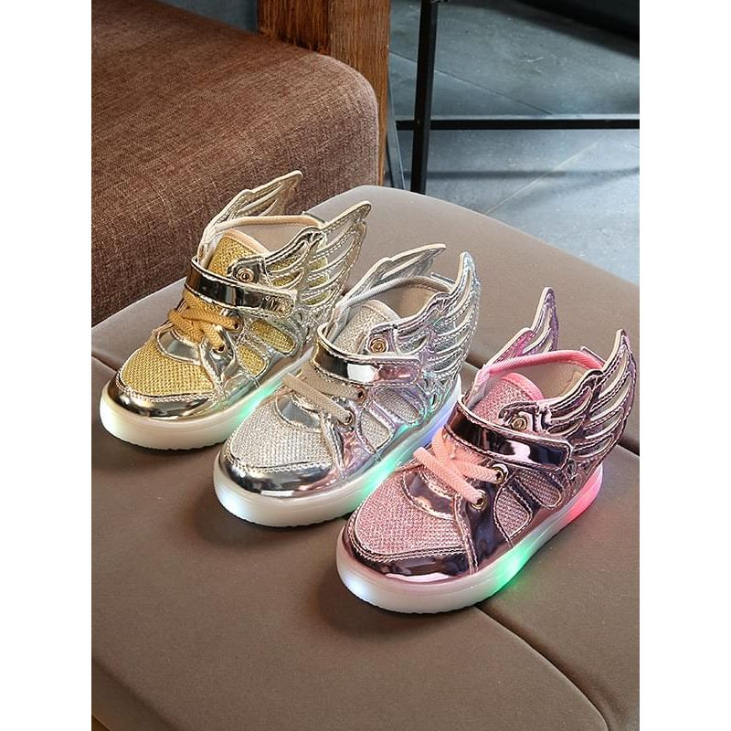 Kiskissing Wings Pattern Cool LED Glowing Night Lights Velcro Sneakers Shoes wholesale children's accessories gold silver pink colors available