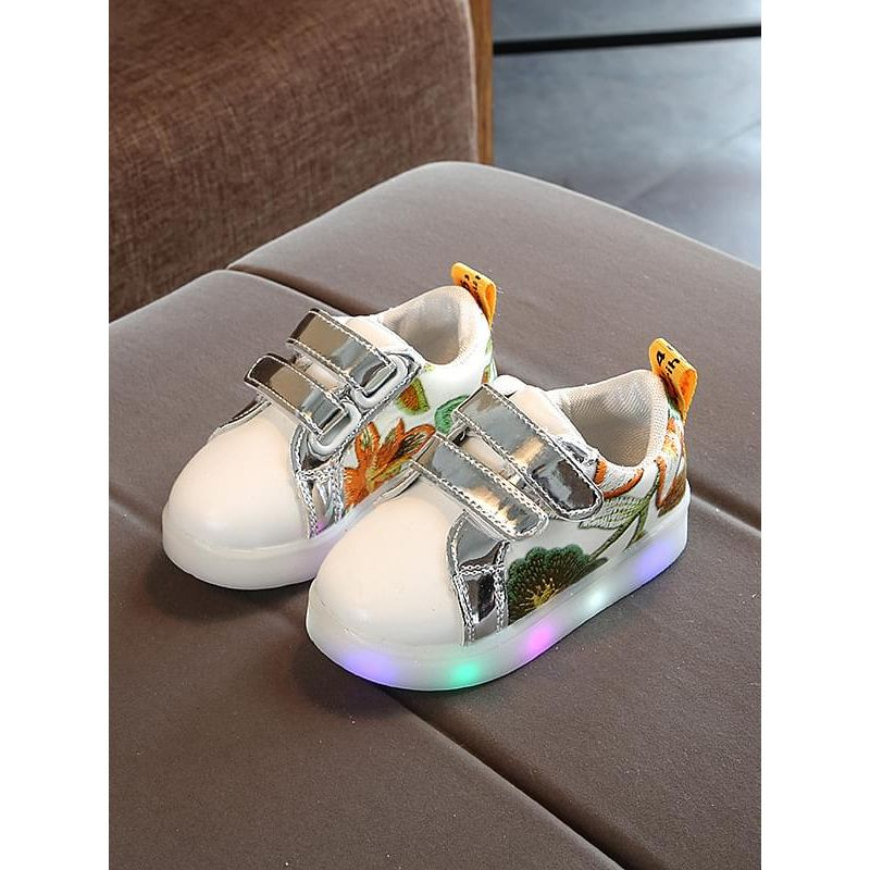 Kiskissing gold Flower Pattern Cool LED Glowing Night Lights Velcro Anti-skid Sneakers Shoes for Kids wholesale children's accessories