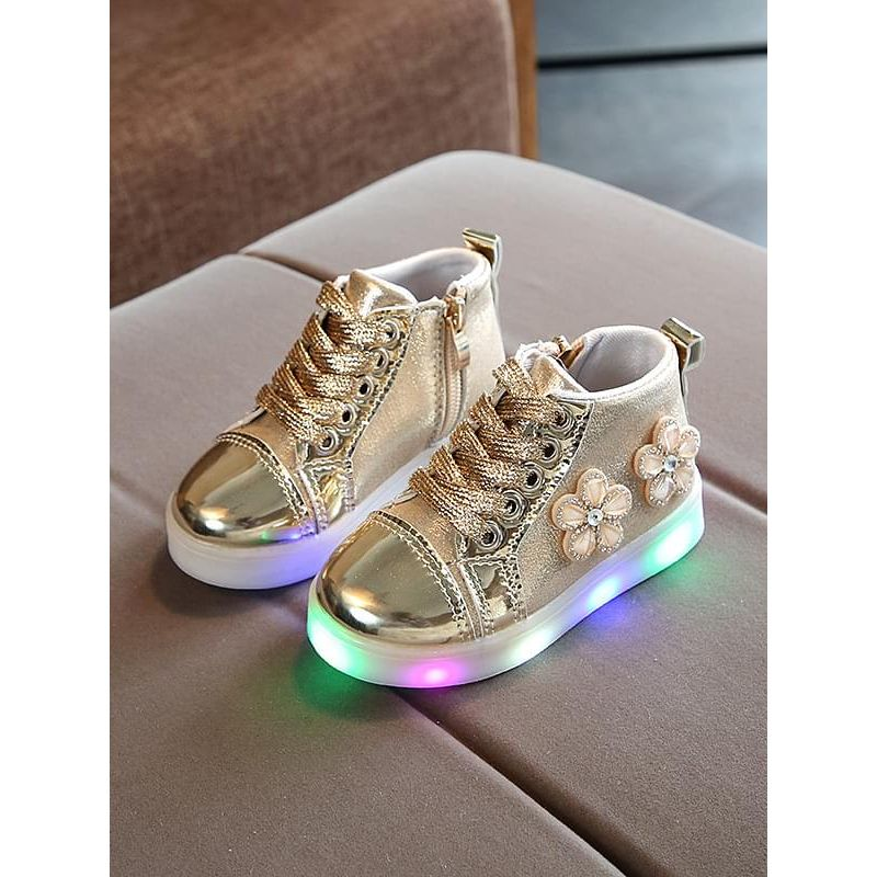 Kiskissing gold Flower Crystal Cool LED Glowing Lights Sneakers Shoes Zip-up Strings for Girls wholesale childrens footwear