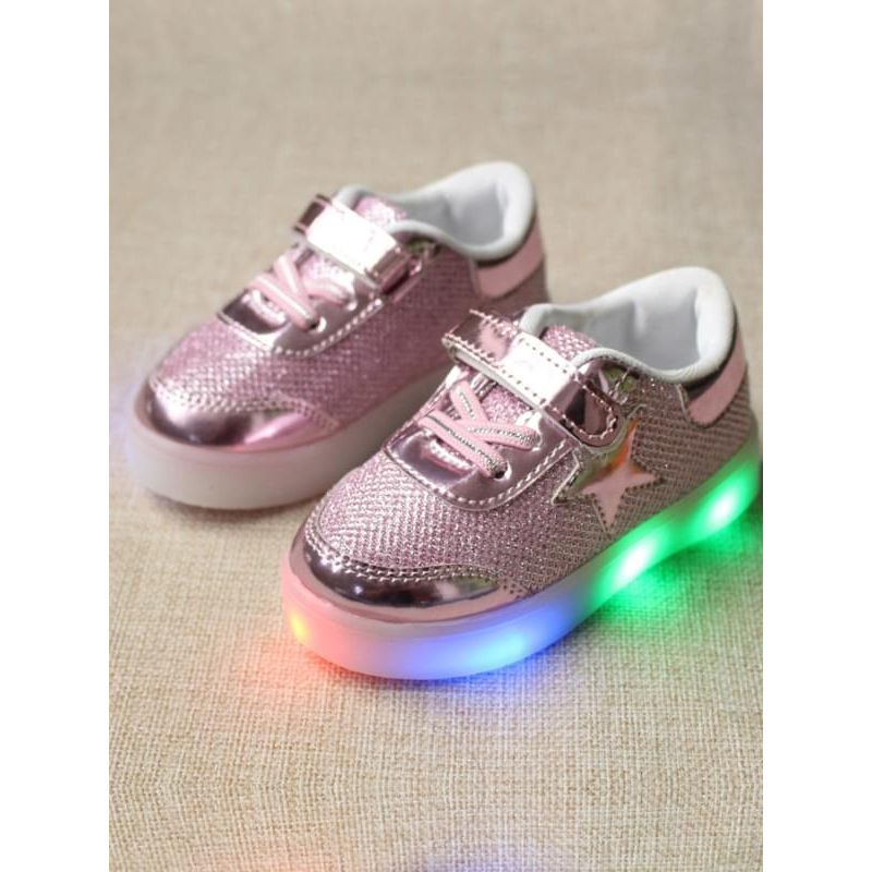 Kiskissing pink Star Pattern Cool LED Glowing Lights Sneakers Shoes Velcro for Kids wholesale children's accessories