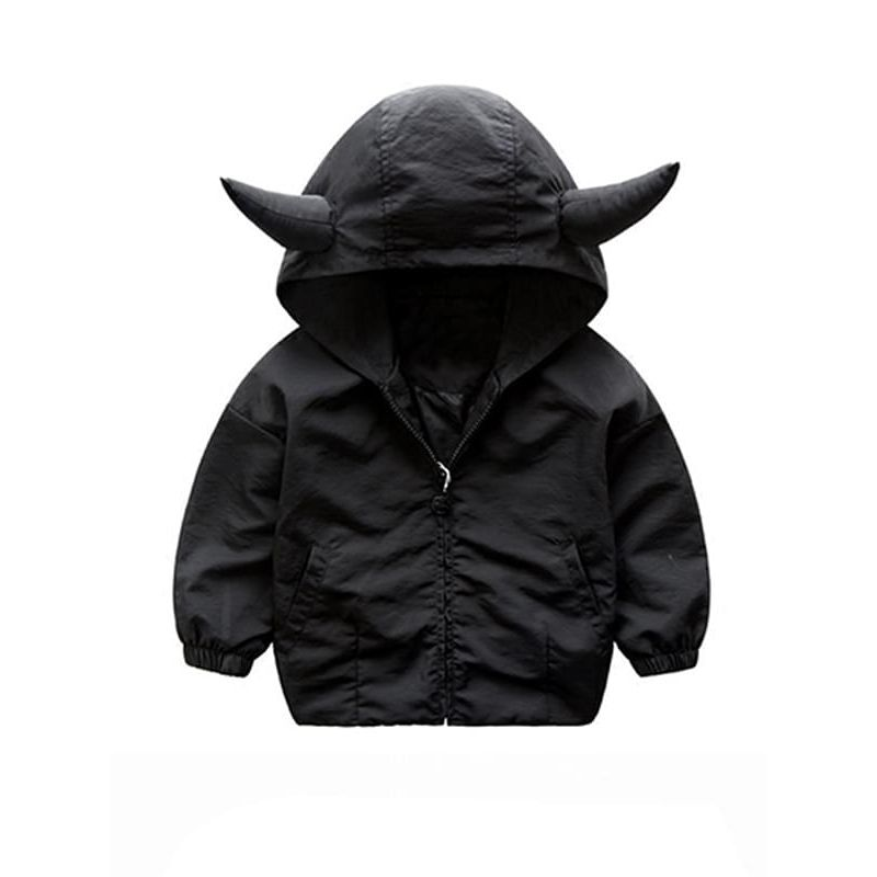 Kiskissing black Horns Pattern Hooded Shark Printed Solid Color Zip-up Coat for Toddlers Boys the obverse side children's boutique clothing wholesale