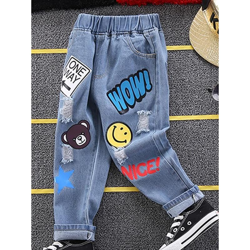 Kiskissing Cute Cartoon Style Bear Printed Jeans Pants for Toddlers Boys wholesale toddler pants the obverse side