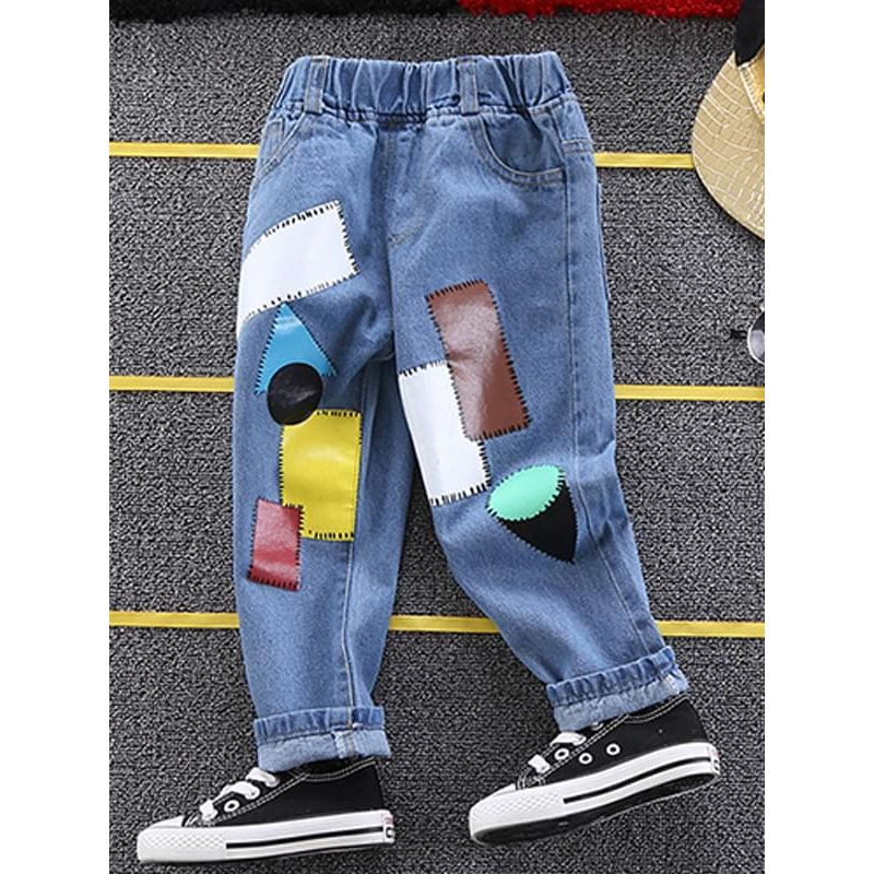 Kiskissing Patches Geometric Figures Pattern Jeans Pants for Toddlers Boys the obverse side wholesale toddler pants
