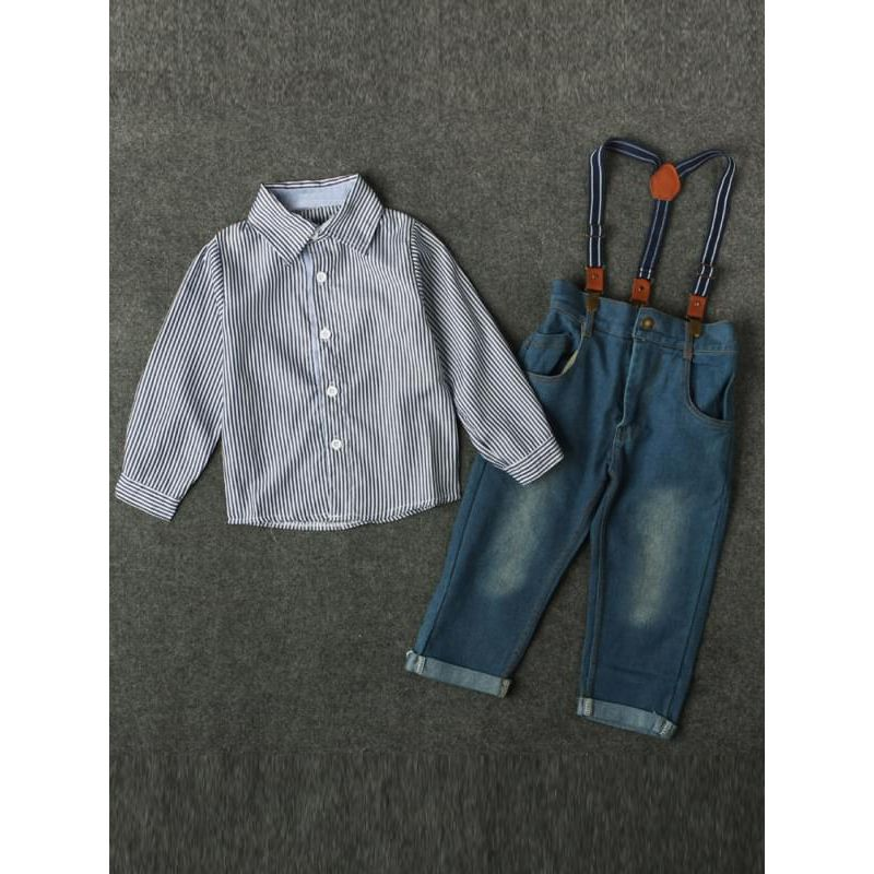 Kiskissing 2-piece Striped Shirt Suspenders Jeans Outfit Set for Baby Toddler Boys the obverse side kids clothing wholesale suppliers