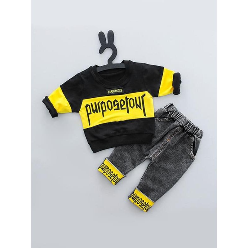Kiskissing 2-piece yellow Letters Printed Outfit Top Sweatshirt Pants Jeans for Baby Toddler Boys kids wholesale clothing set