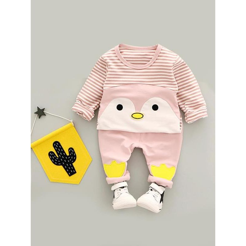 Kiskissing 2-piece pink Cartoon Striped Outfit Top Sweatshirt Pants for Baby Toddler Boys kids wholesale clothing