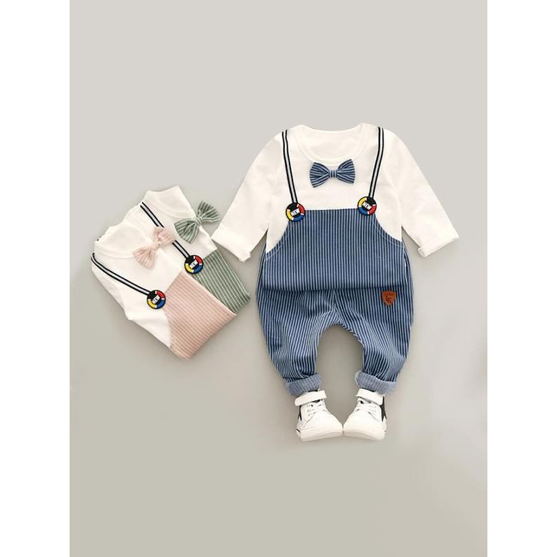 Kiskissing 2-piece blue Striped Outfit Bow-tie Top Sweatshirt Strapped Overalls Pants for Baby Toddler Boys kids wholesale clothing set