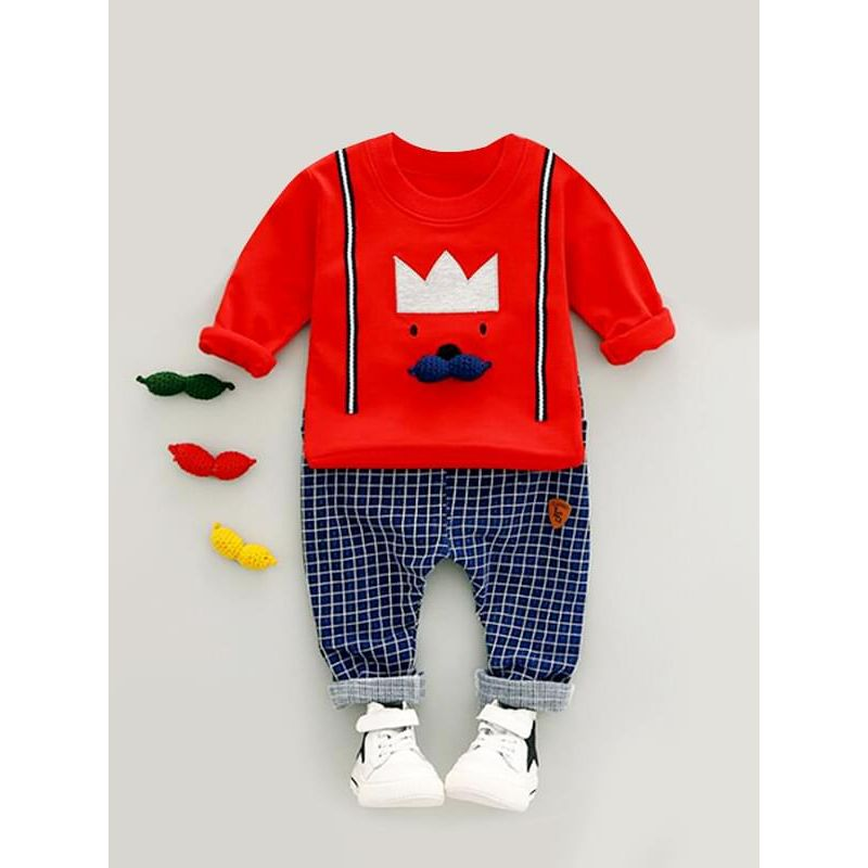 Kiskissing 2-piece red Cartoon Outfit King Top Sweatshirt Plaid Overalls Pants for Baby Toddler Boys kids wholesale clothing set