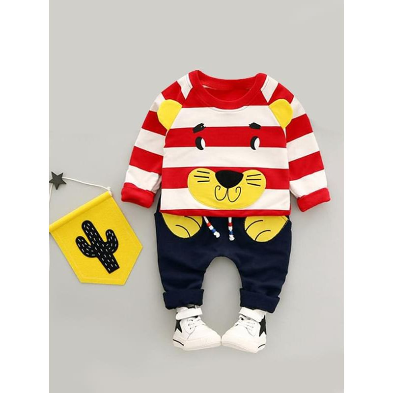Kiskissing 2-piece red Cartoon Lion Striped Outfit Top Sweatshirt Pants for Baby Toddler Boys children's boutique clothing wholesale