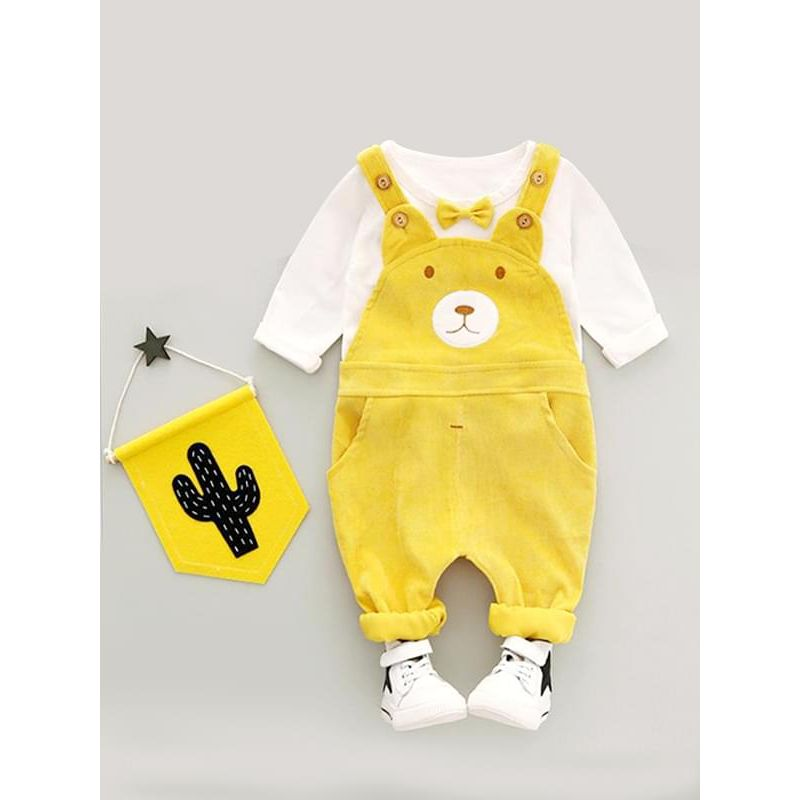 Kiskissing 2-piece yellow Cartoon Bear Outfit Bow-tie Top Sweatshirt Strapped Overalls Pants for Baby Toddler Boys Girls wholesale boys clothing
