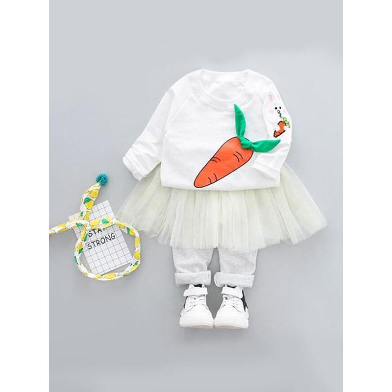 Kiskissing 2-piece white Cartoon Rabbit Outfit Printed Top Sweatshirt Fake-Skirt Pants for Baby Toddler Girls wholesale girls clothing