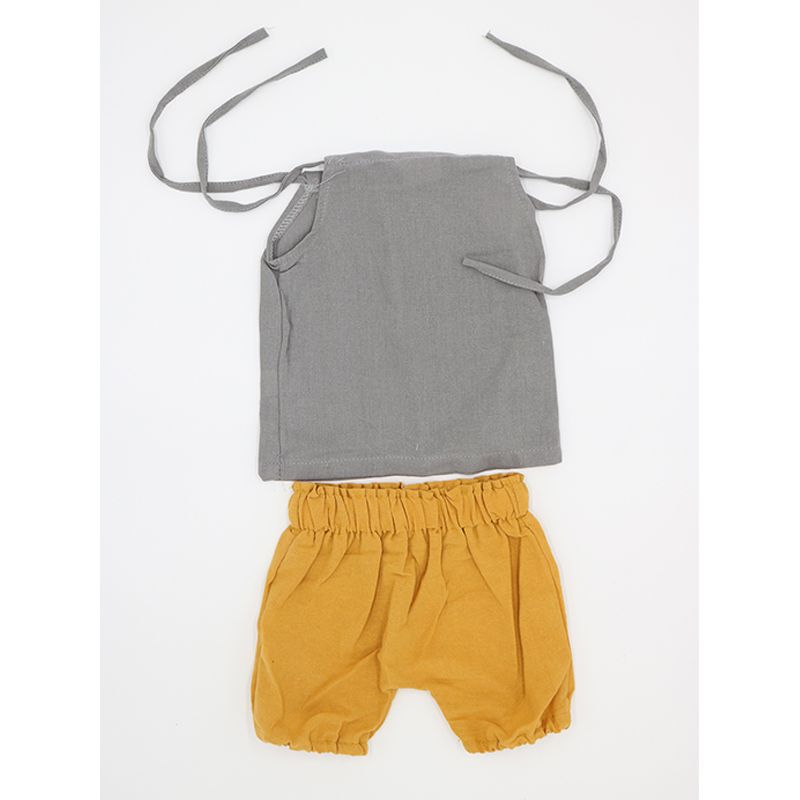 Kiskissing 2-piece Top Shorts Set Strapped Pullover Top Yellow Shorts for Baby Toddler Boys Girls kids wholesale clothing set