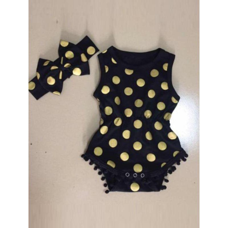 Kiskissing 2-piece Romper Set Golden Spots Bodysuit Bow-knot Headband for Baby Toddler Girls wholesale baby onesies