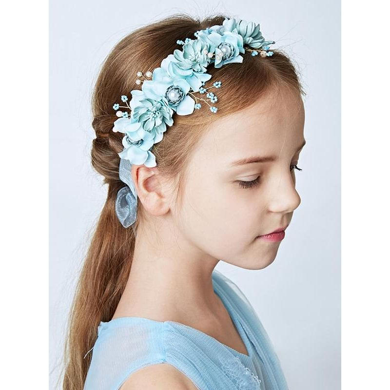 2-piece Flowers Headband Bracelet Set Garland Head-wear Hair Clasp for Girls