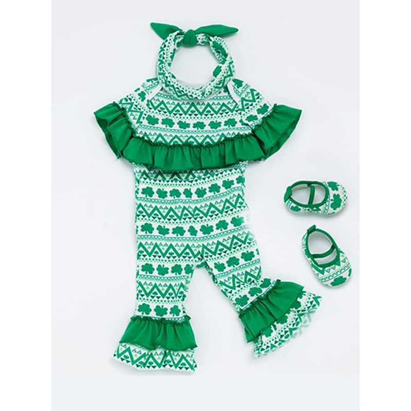 Kiskissing 2-piece Green Four Leaf Clover Romper Set Bodysuit Pants for Baby Boys Girls wholesale kids clothing suppliers