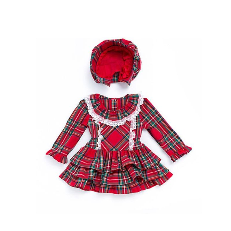 Kiskissing Red 2-piece Dress Hat Set Long-sleeve Plaid Dress for Toddlers Girls the obverse side wholesale toddler boutique clothing
