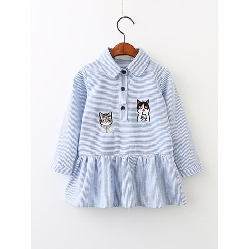 Kiskissing Striped Cat Shirt Dress for Toddlers Girls Long-sleeve Buttons wholesale little girl clothing
