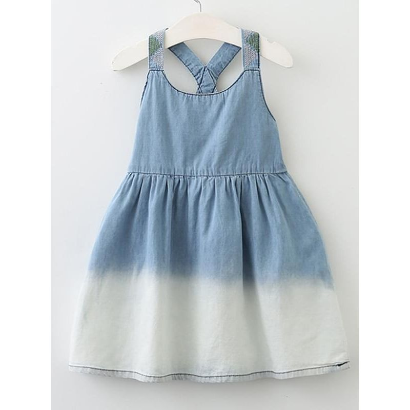 Kiskissing Cool Blue Denim Dress Sleeveless Strapped for Toddlers Girls wholesale toddler clothing