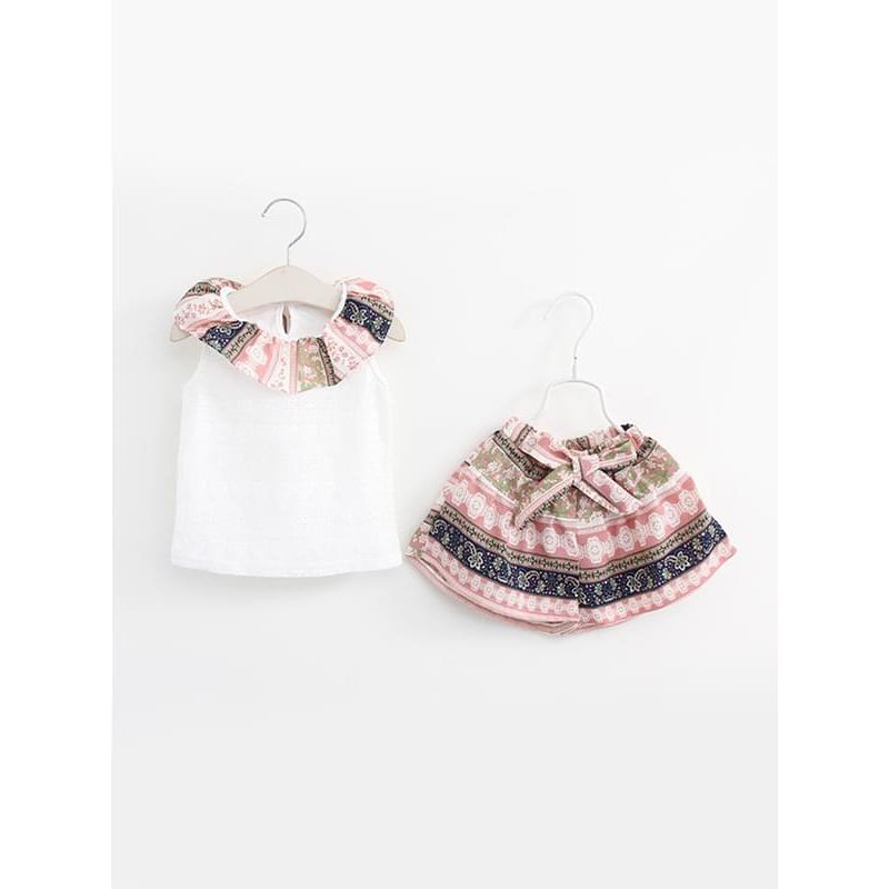 2-piece Boho Tee Shorts Set Ruffled Collar Top Striped Shorts for Toddlers Girls