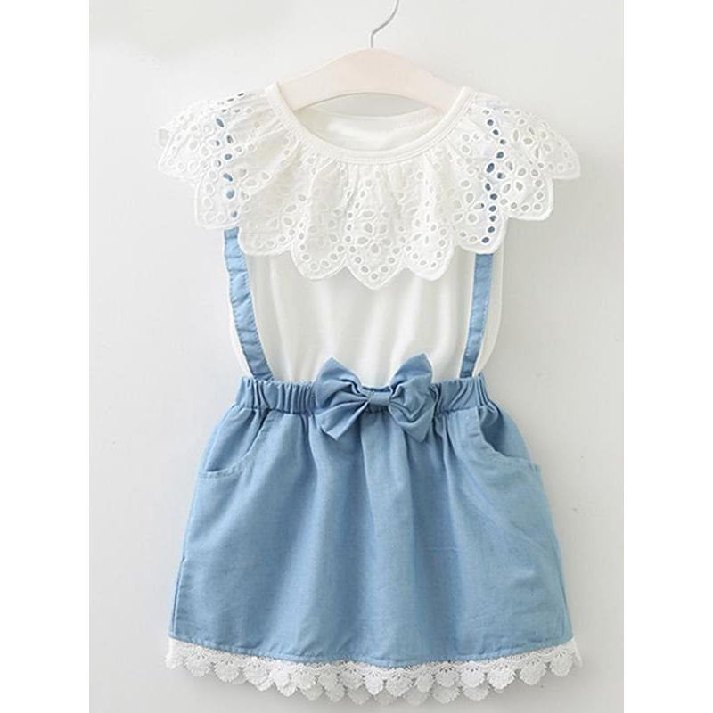 Kiskissing Cool Color Block Fake Denim Dress Sleeveless Pierced for Toddlers Girls wholesale girls clothing