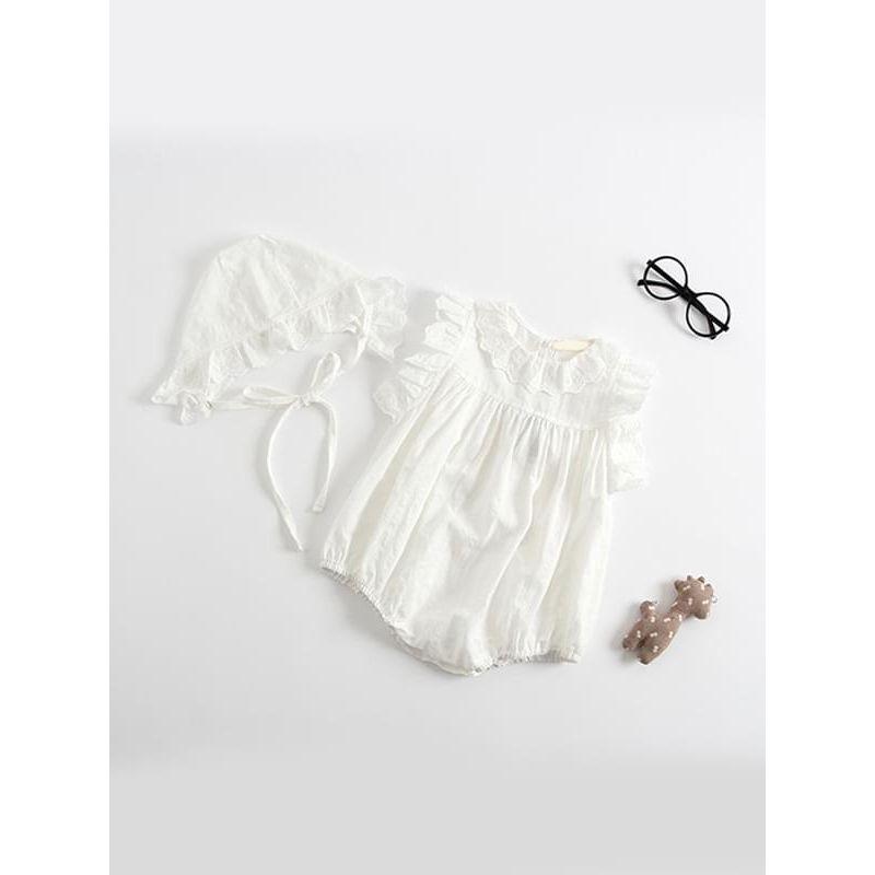 Kiskissing Cotton White Romper Bodysuit for Baby Toddler Girls baby rompers wholesale