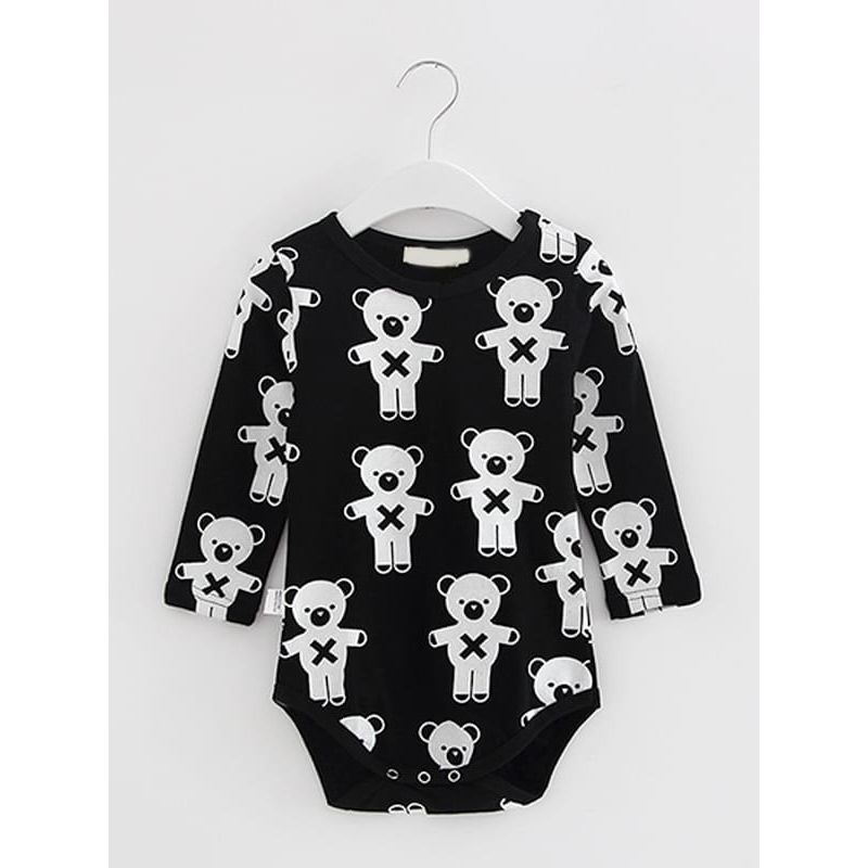 Kiskissing black Cute Bear Pattern Cotton Romper for Baby Toddler Boys Girls baby rompers wholesale