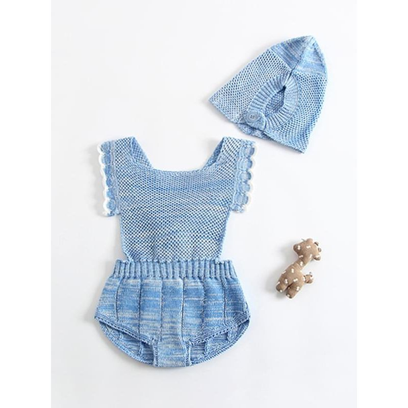 Kiskissing blue Solid Color Strapped Knitting Romper for Baby Toddler Boys Girls baby rompers wholesale