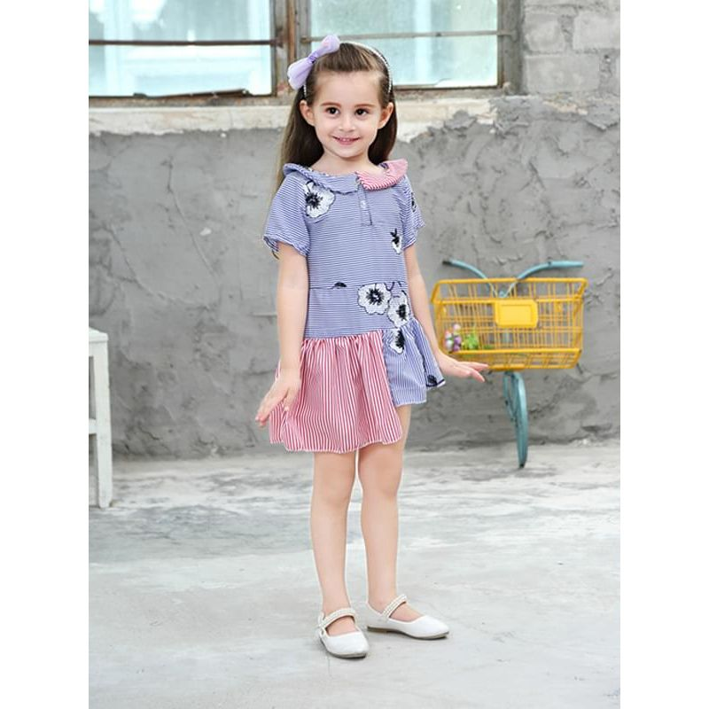 Kiskissing Flower Striped Embroidery Short-sleeve Dress for Toddlers Girls the model show wholesale children's boutique clothing suppliers