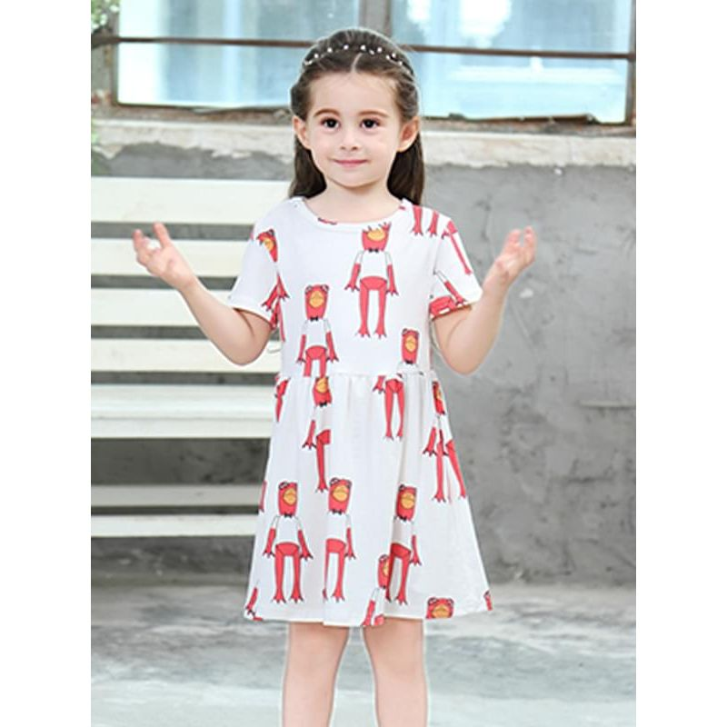 Kiskissing Frog Pattern Printed Short-sleeve Dress for Toddlers Girls Casual the model show wholesale toddler clothing suppliers