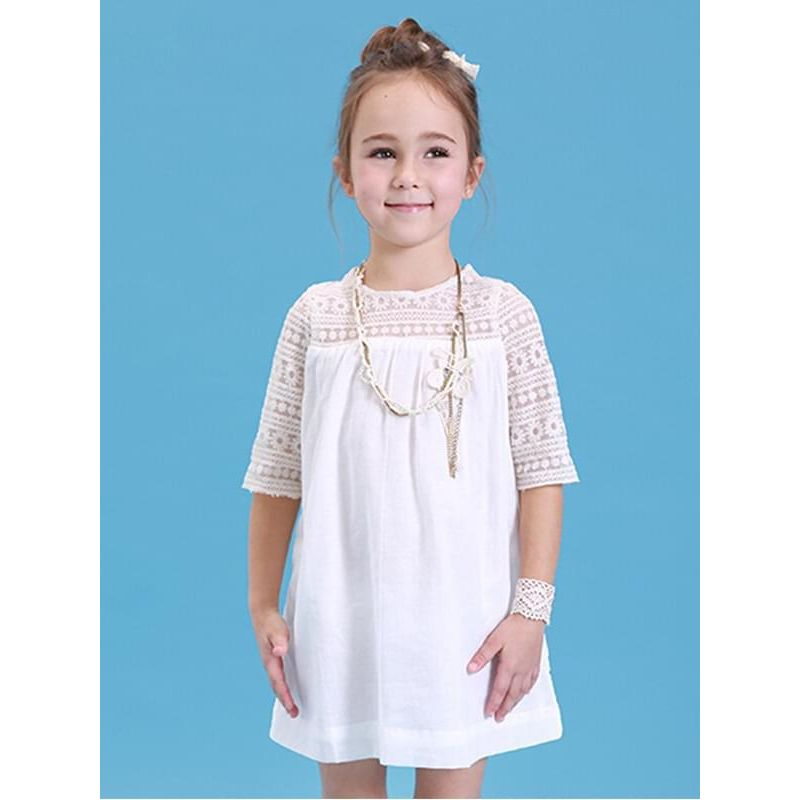 Kiskissing White Pierced Lace Dress Double-layer Short-sleeve for Toddlers Girls the model show kids wholesale clothing