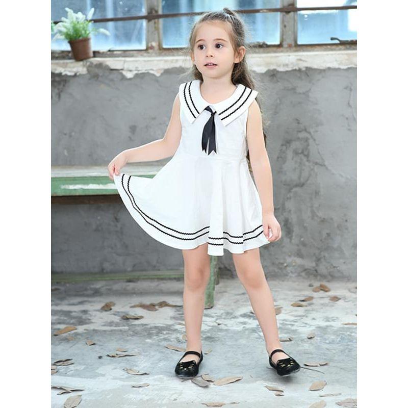 Kiskissing white Navy Style Sleeveless Dress Big Hem Tie for Toddlers Girls the model show kids wholesale clothing