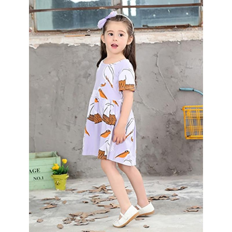 Kiskissing Cartoon Crane Pattern Cute Printed Dress Short-sleeve for Toddlers Girls trendy kids wholesale clothing the model show