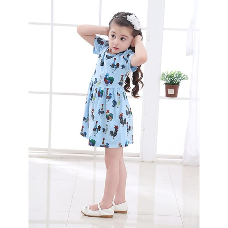 Kiskissing Cartoon Roosters Pattern Cute Printed Dress Short-sleeve for Toddlers Girls the model show children's boutique clothing wholesale