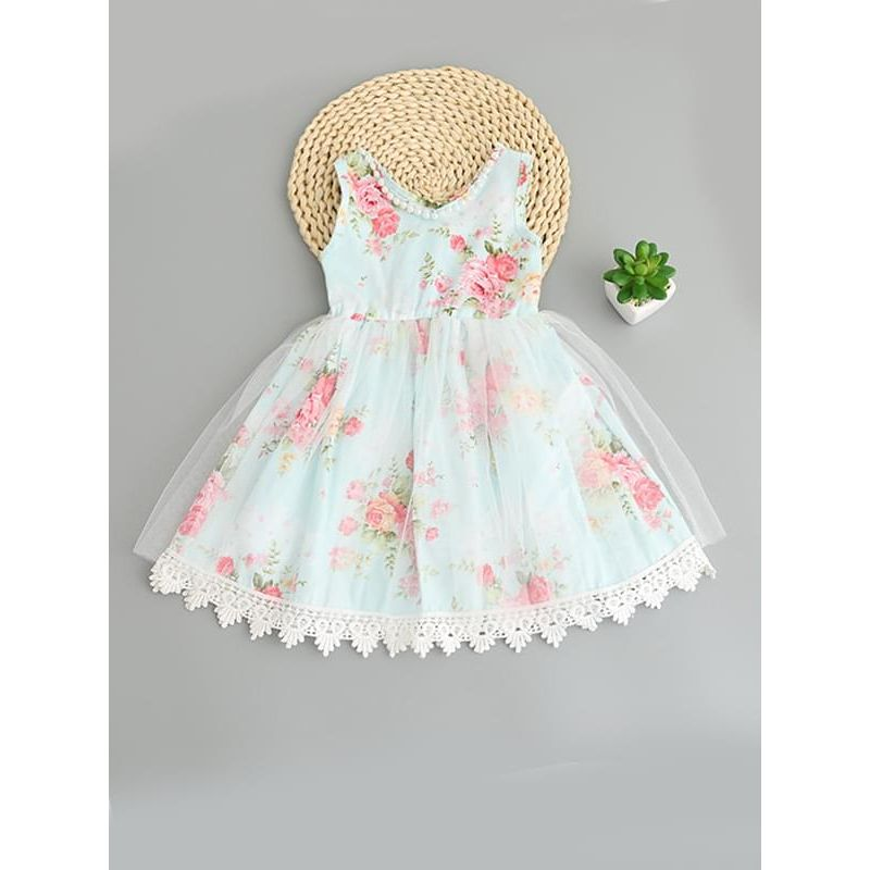 Kiskissing green Sleeveless Flowers Tulle Cotton Ruffled Princess Dress for Toddlers Girls wholesale princess dresses