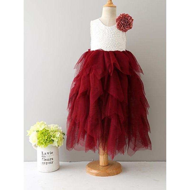 Kiskissing red Paneled Lace Mesh Tutu Dress Sleeveless Princess Party Dress for Toddlers Girls wholesale princess dresses