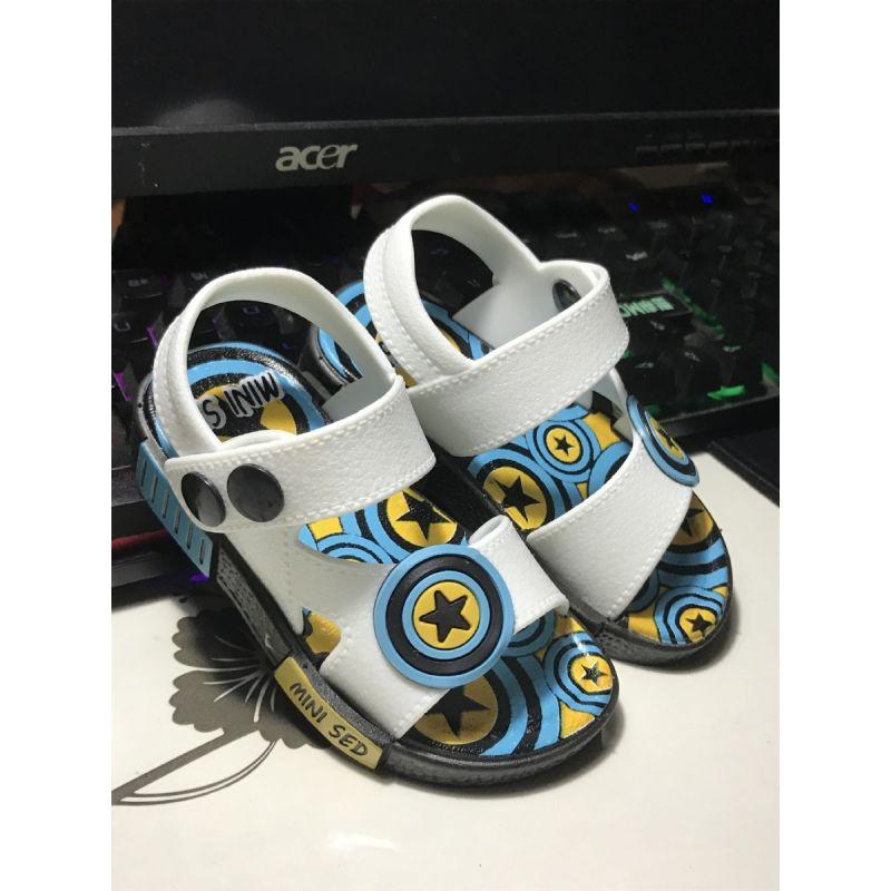 Kiskissing white Cartoon Star Shield Pattern Sandals Anti-skid Shoes Buttons for Baby Toddler Boys Girls wholesale baby accessories