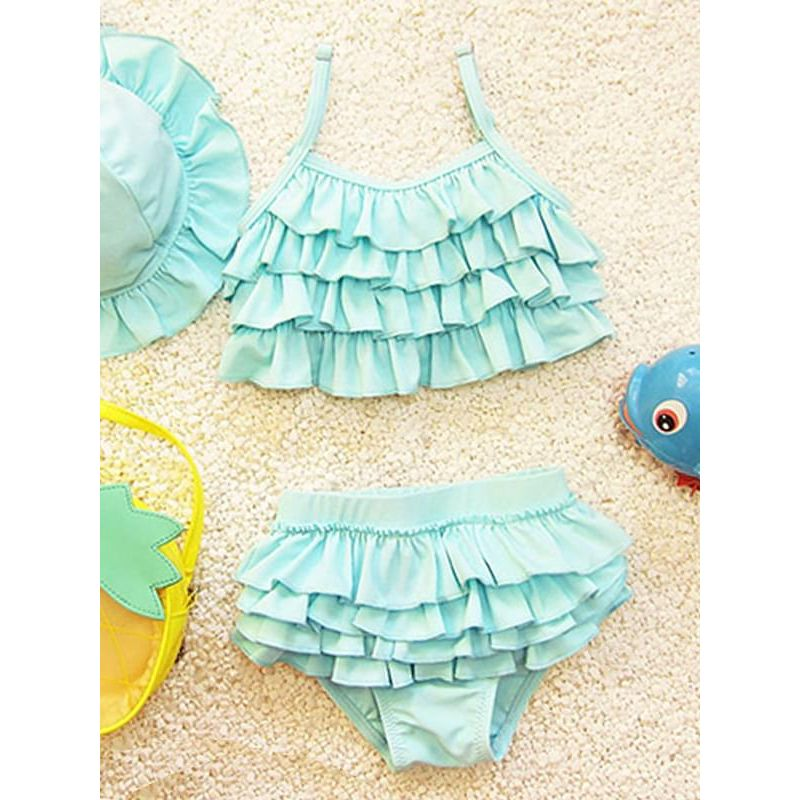 Kiskissing 3-piece green Swimwear Bikini Set Hat Top Shorts for Babies Toddlers Girls wholesale kids swimwear