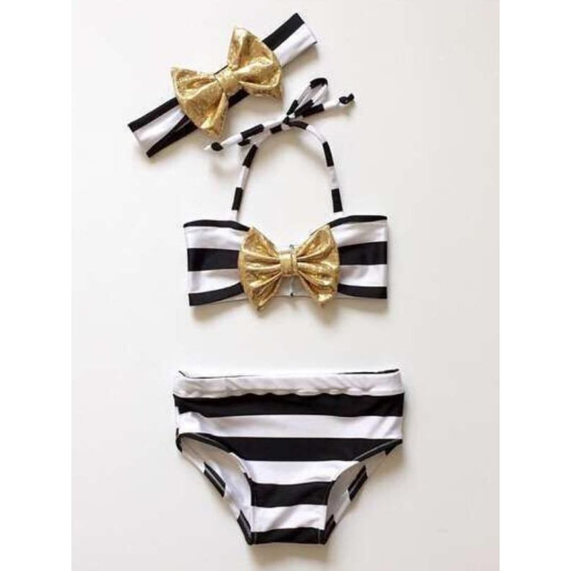 Kiskissing 3-piece Swimwear Set Striped Bow Headband Top Shorts for Toddlers Girls wholesale toddler boutique clothing swimsuit