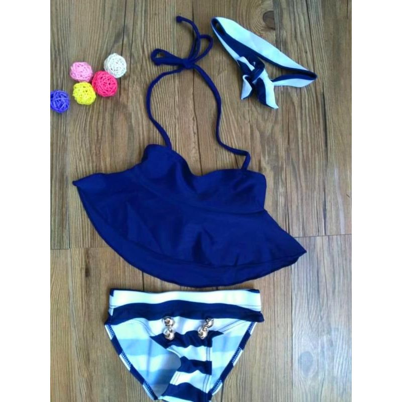 Kiskissing 3-piece Swimwear Set Headband Top Striped Shorts for Girls wholesale kids swimwear