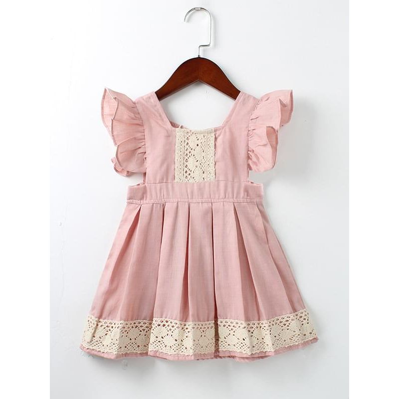 Kiskissing Cute Pink Paneled Flower Pattern Cotton Dress for Toddlers Girls kids wholesale clothing