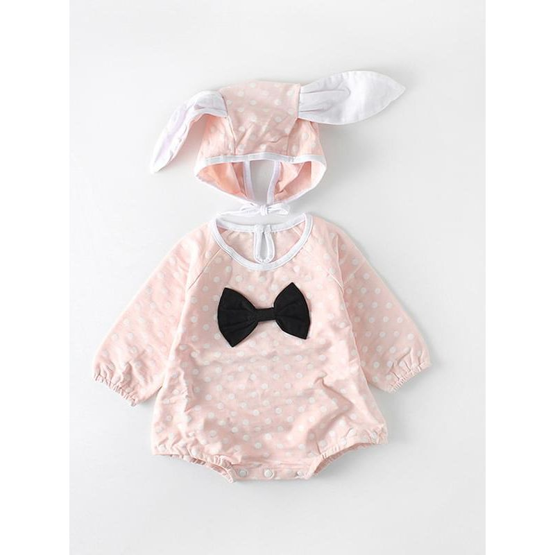 Kiskissing pink Rabbit Pattern Dots Printed Romper Bow Long-sleeve for Baby Toddler Girls wholesale baby onesies