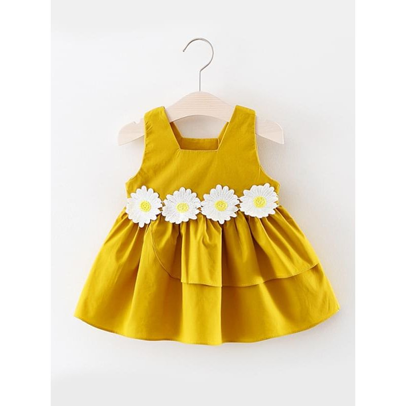 Kiskissing yellow Cute Flower Sleeveless Sundress Ruffled Solid Color Princess Dress for Baby Toddler Girls wholesale princess dresses