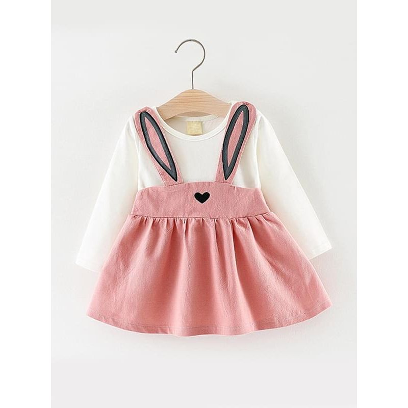 Kiskissing pink Paneled Cartoon Rabbit Cotton Dress Long-sleeve for Baby Toddler Girls kids wholesale clothing