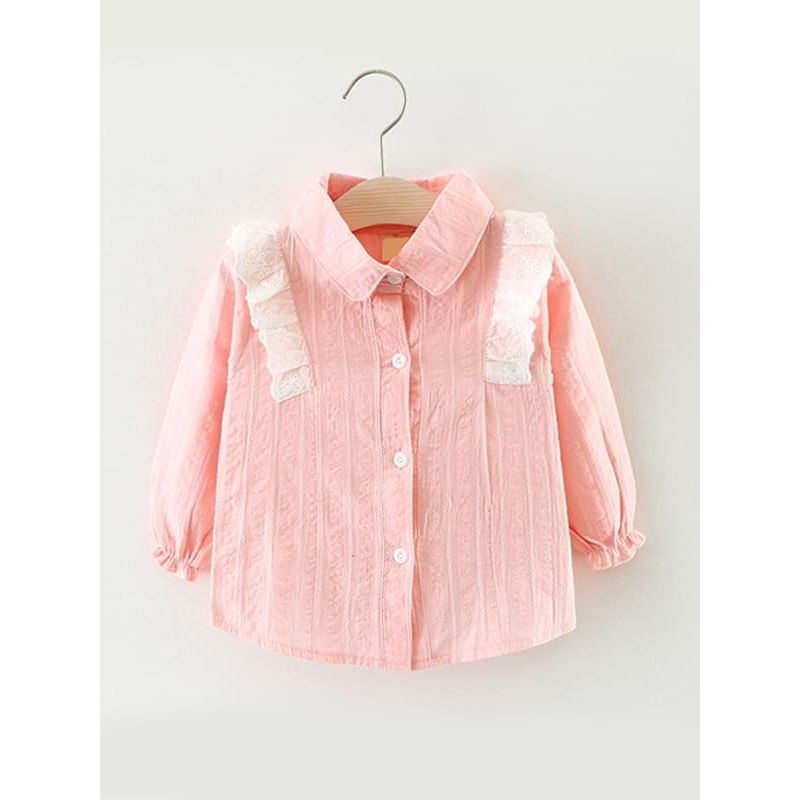 Kiskissing pink Long-sleeve Cotton Shirt Blouse Top Solid Color for Baby Toddler Girls children's boutique clothing wholesale