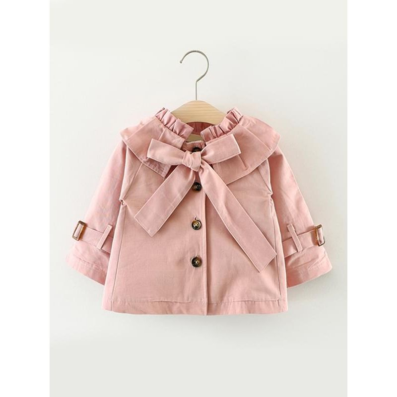 Kiskissing pink Long-sleeve Cotton Buttoned Bow-knot Coat for Toddlers Girls trendy kids wholesale clothing