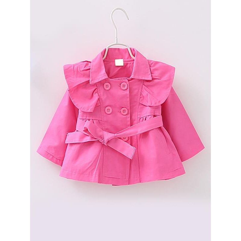 Kiskissing rose Long-sleeve Cotton Buttoned Belt Trench Coat for Toddlers Girls kids clothing wholesale suppliers