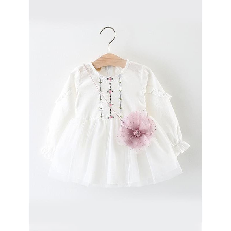 Kiskissing white Pretty Embroidered Flower Dress Long-sleeve Cotton Tulle for Toddlers Girls trendy toddler clothes wholesale
